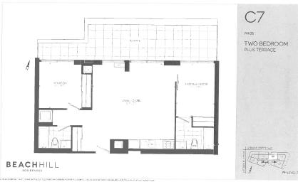 BeachHill Apartments 2 bedroom + 2 bathroom penthouse apartment floor plan in Toronto, ON