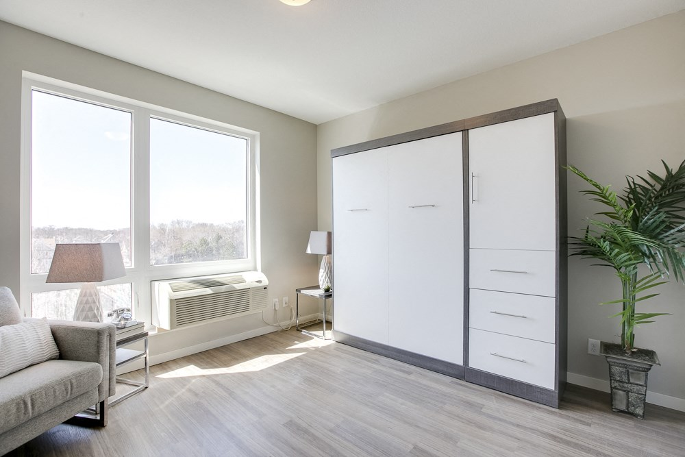 Contemporary murphy bed in studio unit at The Central apartments near downtown Minneapolis MN 55408
