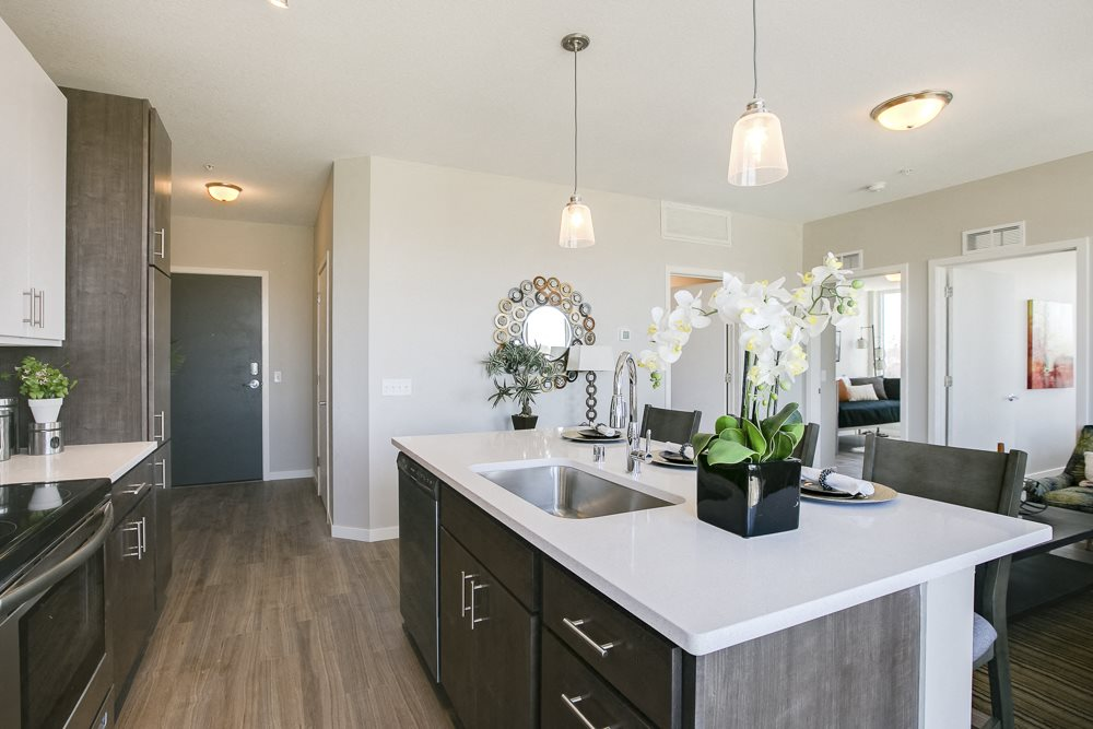 Kitchen island at The Central apartments near downtown Minneapolis MN 55408