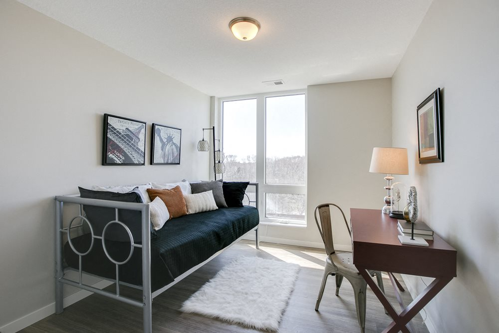 Spare bedroom turned into office at The Central apartments near downtown Minneapolis MN 55408