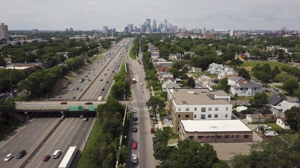 Views of downtown from The Central apartments near downtown Minneapolis MN 55408