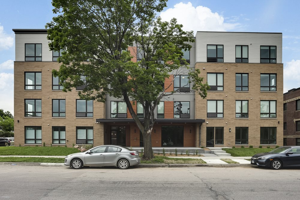 Exterior of The Central apartments near downtown Minneapolis MN 55408