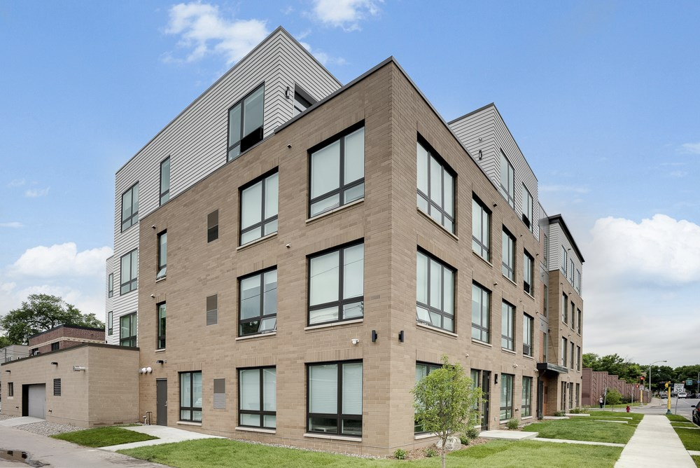 Exterior of The Central apartments near uptown and downtown Minneapolis MN 55408