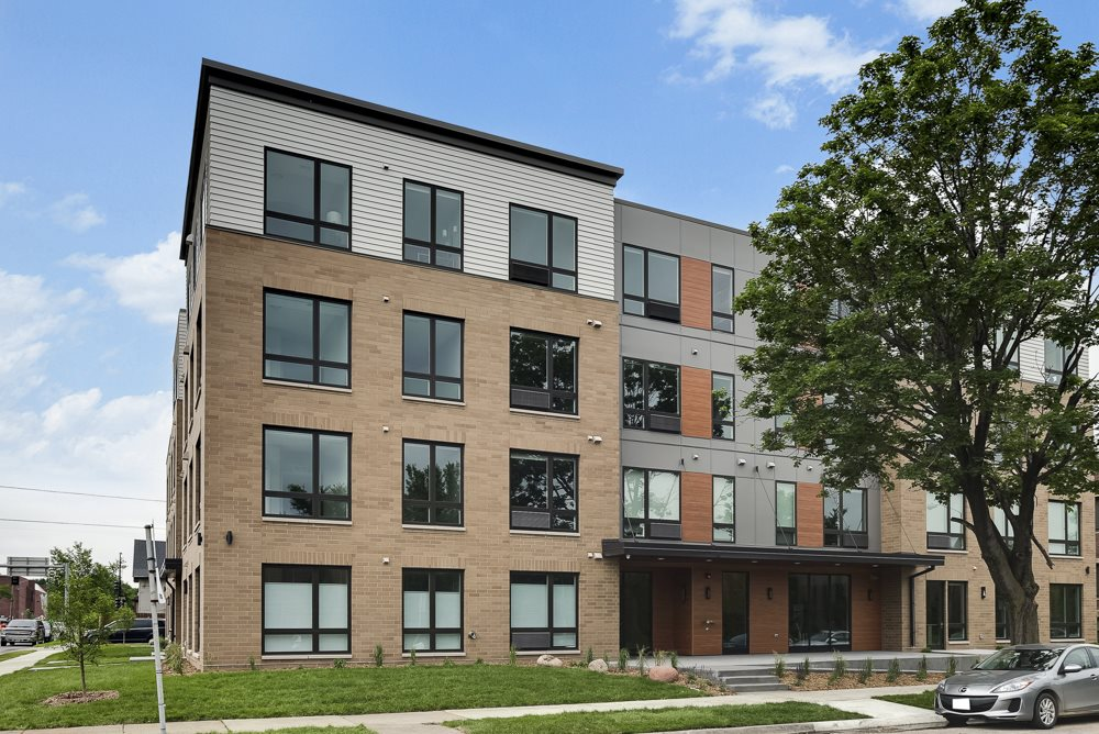Building exterior at The Central apartments near downtown Minneapolis MN 55408