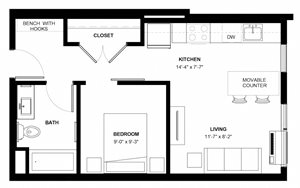 Bryant 1-bedroom floor plan at The Central apartments near downtown Minneapolis MN