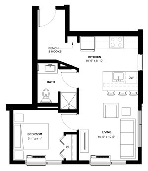 Carag 1-bedroom floor plan at The Central apartments near downtown Minneapolis MN