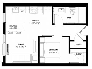 Harriet 1 bedroom floor plan at The Central apartments near downtown Minneapolis MN
