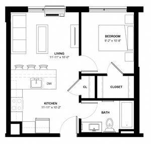 Lyndale-B 1-bedroom floor plan at The Central apartments near downtown Minneapolis MN