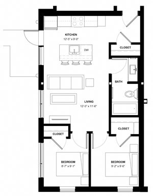 Kingfield 2 bedroom floor plan at The Central apartments near downtown Minneapolis MN