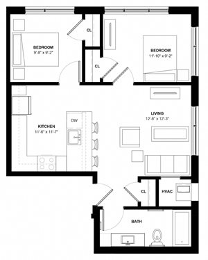 Longfellow 2 bedroom floor plan at The Central apartments near downtown Minneapolis MN