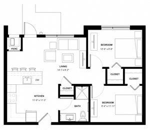 Lynhurst 2 bedroom floor plan at The Central apartments near downtown Minneapolis MN