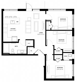 Tangletown 3 bedroom floor plan at The Central apartments near downtown Minneapolis MN