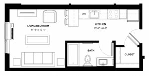 Howe studio floor plan at The Central near downtown Minneapolis MN