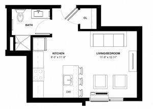 Page studio floor plan at The Central in Minneapolis MN