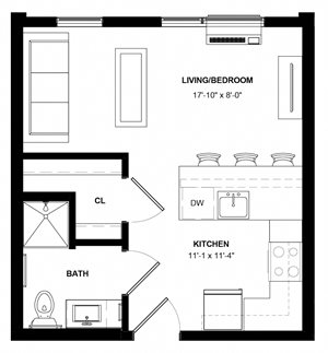 Ecco studio floor plan at The Central apartments in Minneapolis MN