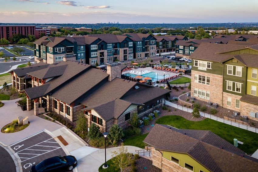 Aerial view of community at Windsor at Pinehurst, CO, 80235