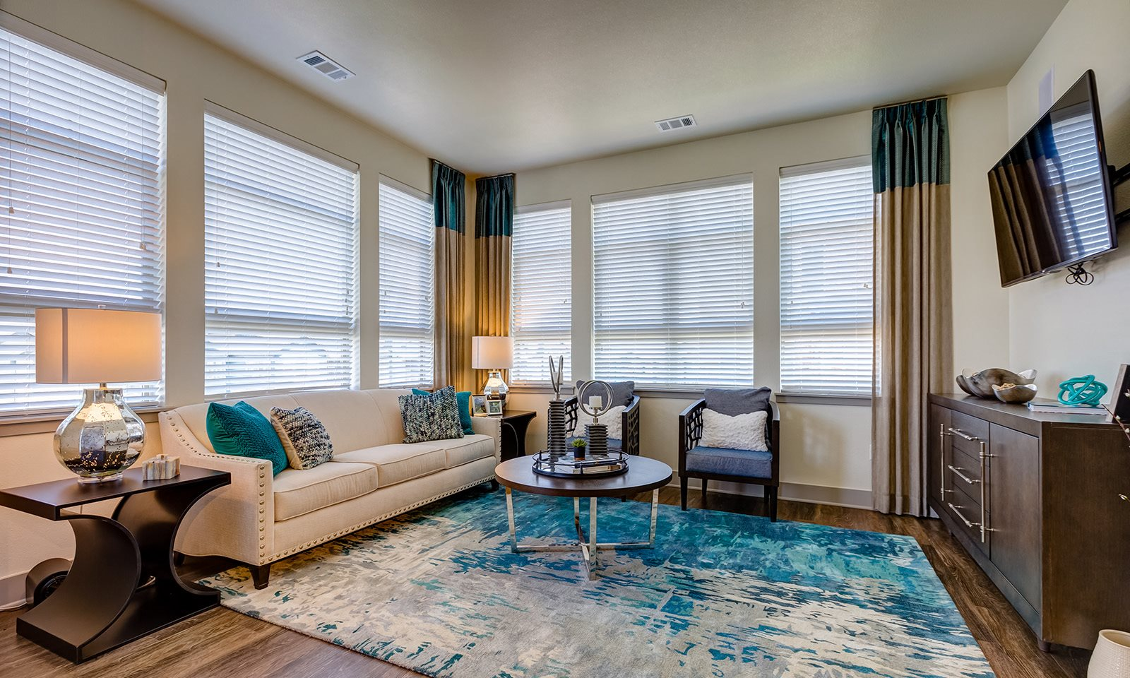 Living room at Windsor at Pinehurst, Lakewood, Colorado