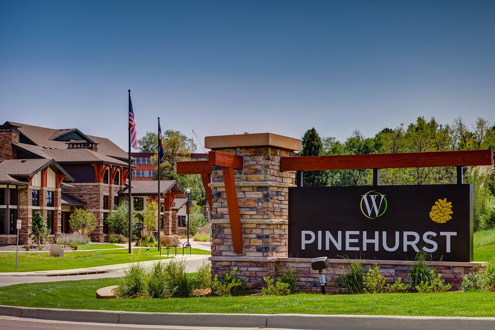 Front signage at Windsor at Pinehurst, Lakewood, CO