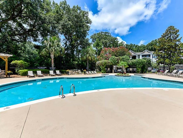 Pool with Lounge Chairs with Poolside Internet Access at Legends at Charleston Park Apartments, North Charleston, SC, 29420