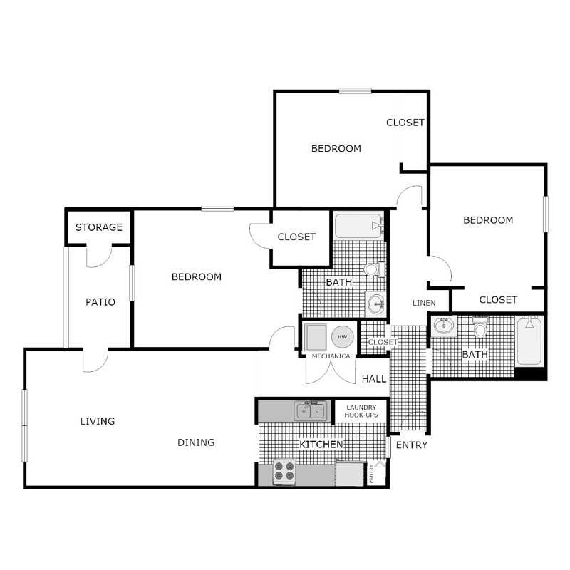 3 Bedroom 2 Bath Apartment