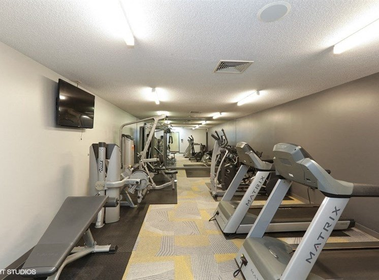 Large fitness center at Equinox Apartments