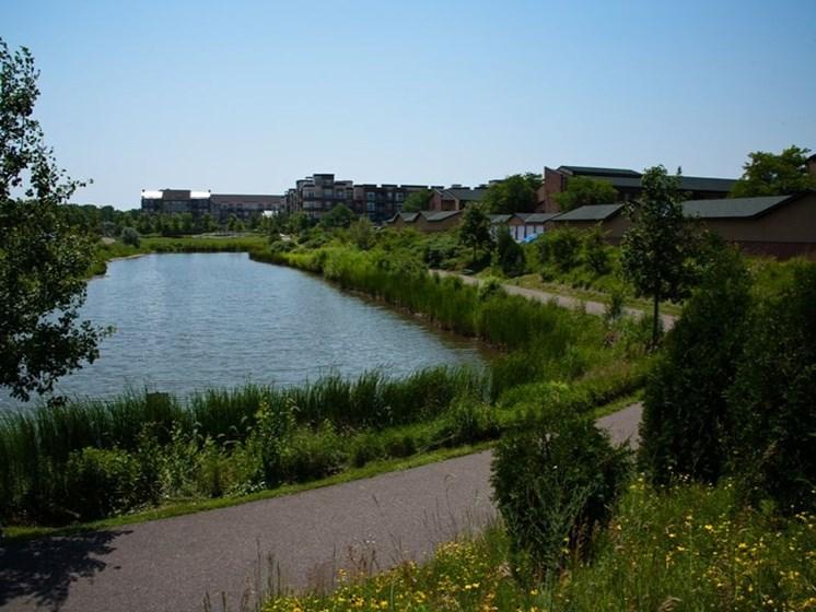 Serene water view at Equinox Apartments