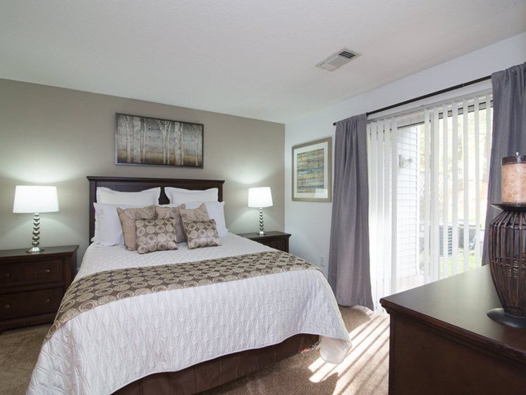 Large Bedrooms with Private Sliding Door to Patio at Town Walk at Hamden Hills, Hamden, CT