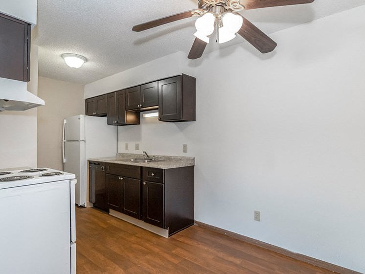 West Two Bedroom Kitchen and Ceiling Fan