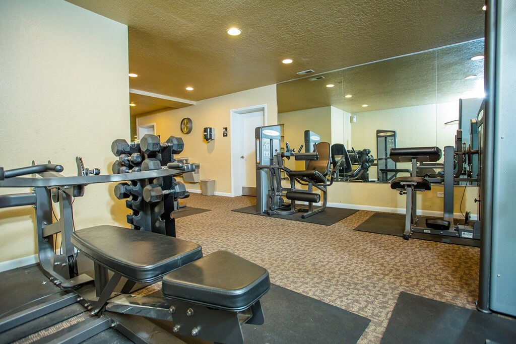 The fitness center also includes free weights, medicine balls and more at Renaissance at Carol Stream, Illinois