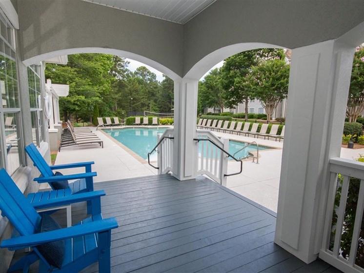 Shaded Lounge Area by Pool at Lullwater at Calumet, Newnan, GA