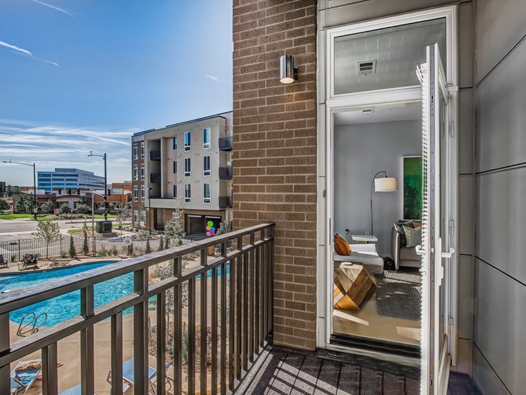 Balconies or patios in select units