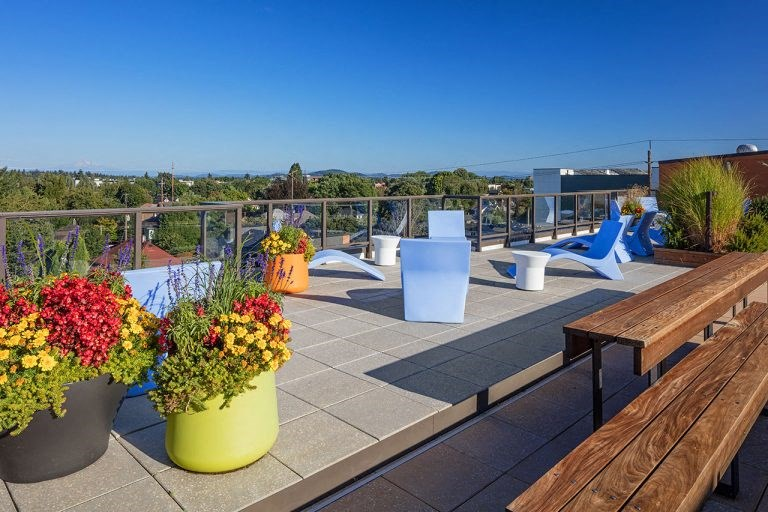 The Wilmore rooftop with flowers