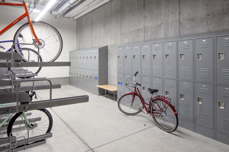 The Wilmore bike locker room with several bikes