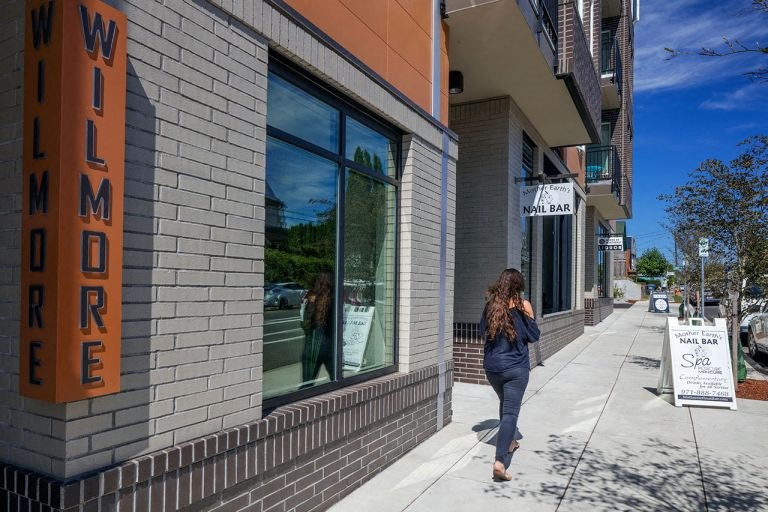 The Wilmore storefront with pedestrian