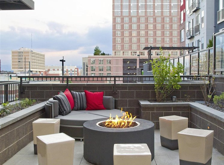 Rooftop lounge with fire pit, lounge seating, overlooking city