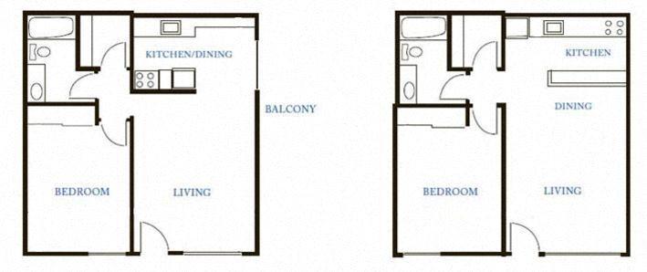 1BR-1BA Floor Plan 1
