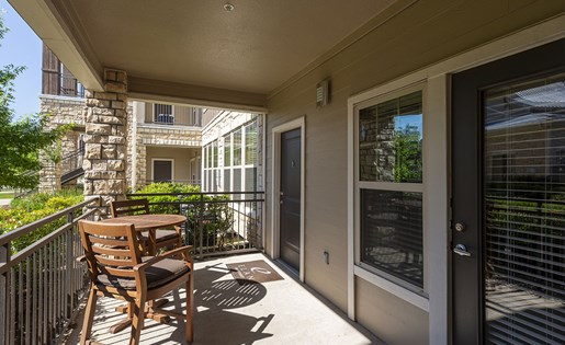 Image of the private patios at our luxurious apartments in Houston, TX