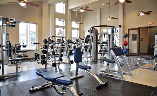 Image of the fitness center here at Aliso at Briar Forest in Houston