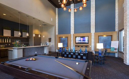 Image of the pool tables in our resident clubhouse