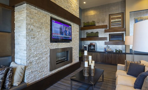 Image of the tv room in our resident clubhouse Near Downtown Houston