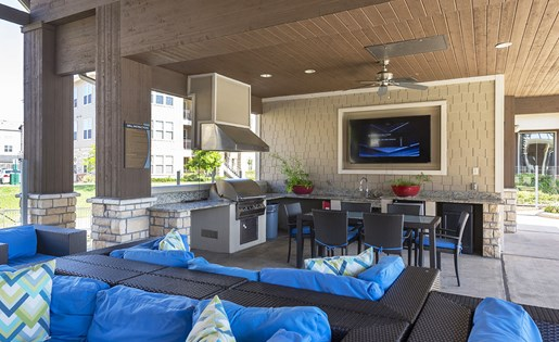 Image of the cabanas at at our luxurious apartments in Houston, TX