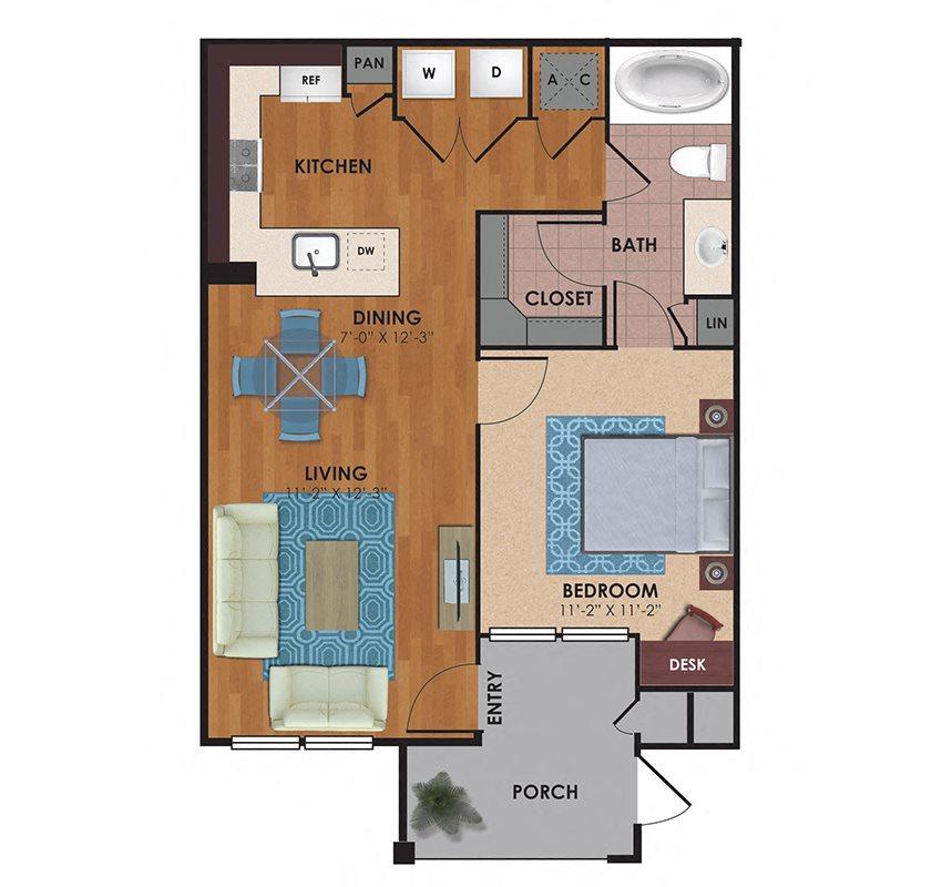 Brazos 1 Bedroom 1 Bath Floor Plan