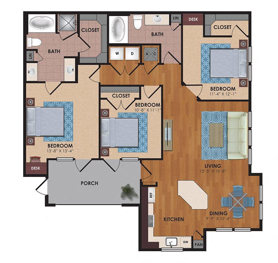 Caprock 3 Bedroom 2 Bath Floor Plan