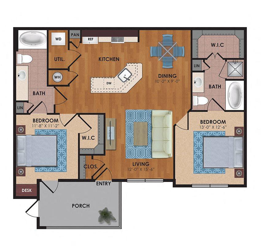 Cedar 2 Bedroom 2 Bath Floor Plan