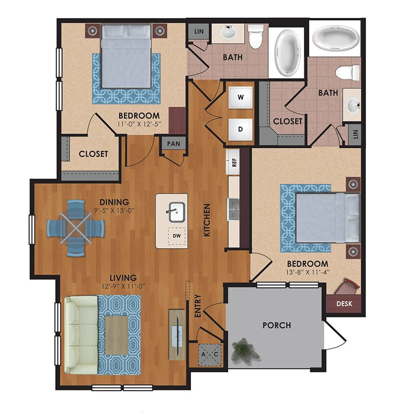 Lockhart 2 Bedroom 2 Bath Floor Plan