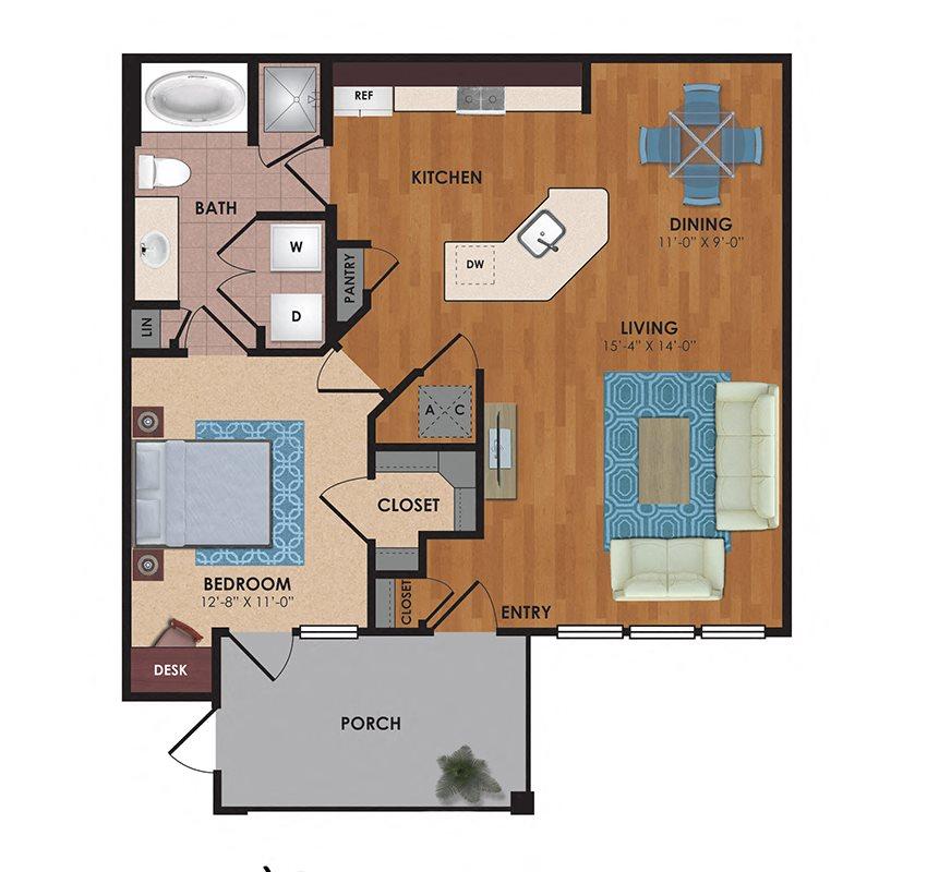 Palmetto 1 Bedroom 1 Bath Floor Plan