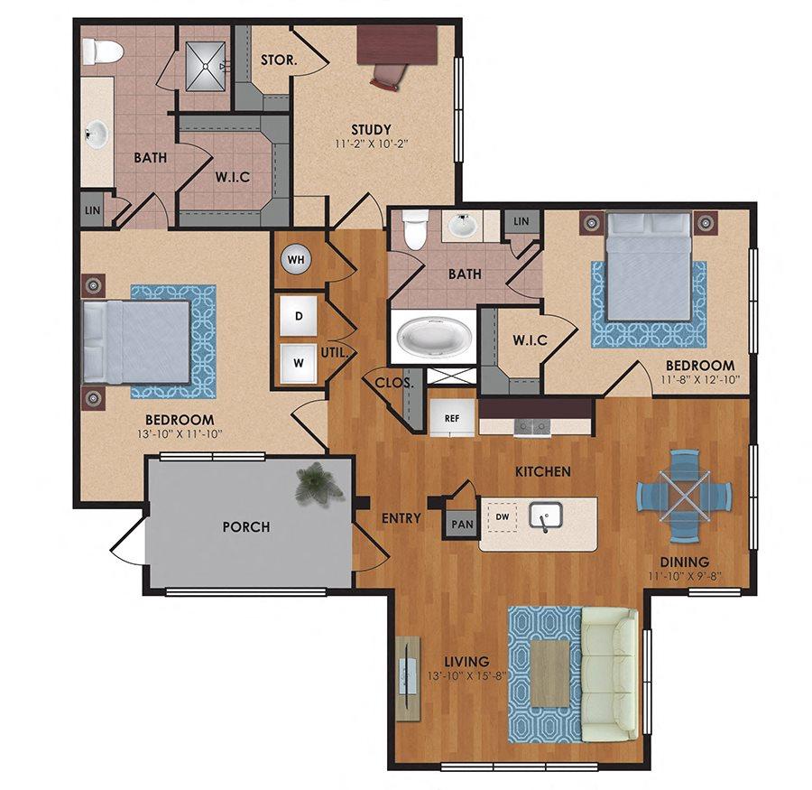 Parker 2 Bedroom 2 Bath Floor Plan