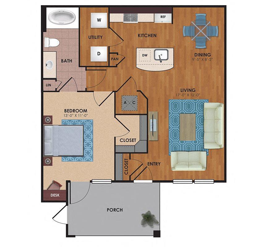 Sheldon 1 Bedroom 1 Bath Floor Plan
