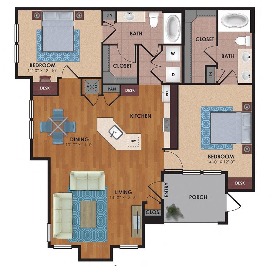 Tyler 2 Bedroom 2 Bath Floor Plan