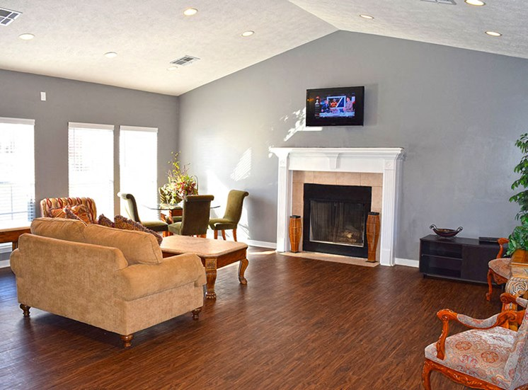 Living Room with Fireplace at Ridgeland Place Apartment Homes, Ridgeland, MS